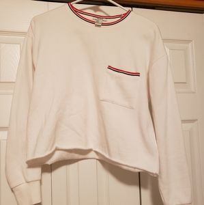Forever 21 white sweater with red & black trim